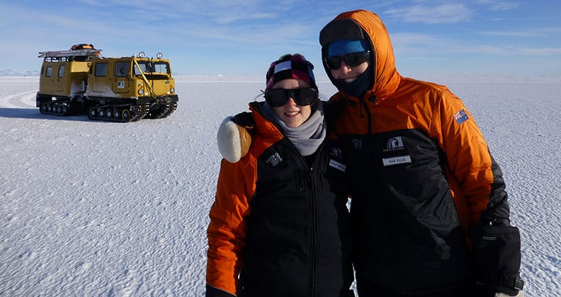 PhD students, Holly and Aja, in Antarctica