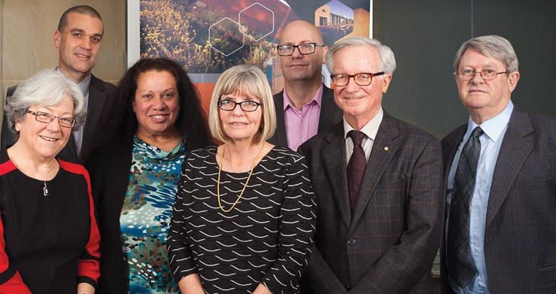 NCSEHE Director with board members (from left): Professor Carmen Lawrence; Paul Nicholls; Professor Colleen Hayward; Professor Sue Trinidad (Director); Craig Ritchie; the Hon. Fred Chaney AO; and Professor Bruce Chapman