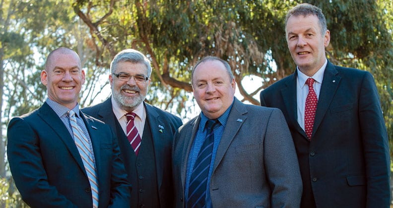From left: Professor Steven Tingay; Senator the Hon. Kim Carr; Director General SKA Organisation Professor Philip Diamond; and CSIRO SKA Director Dr Brian Boyle