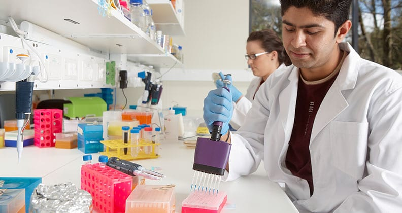 Two Curtin researchers working in a laboratory