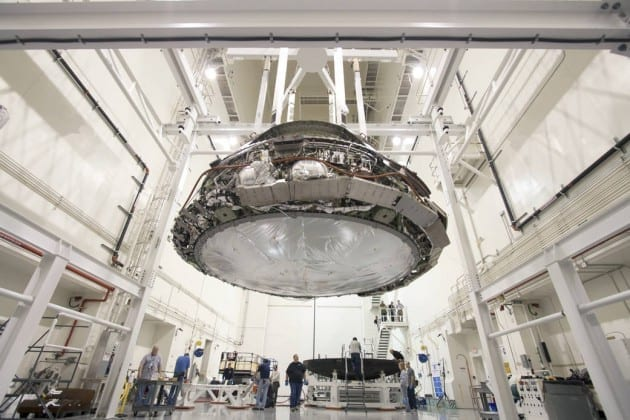 The Orion spacecraft on the workshop floor at NASA.