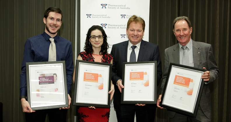 L-R: Joseph Foster, Teresa Di Franco, Noel Fosbery and Jeffery Leach. Photo: Pharmaceutical Society of Australia.