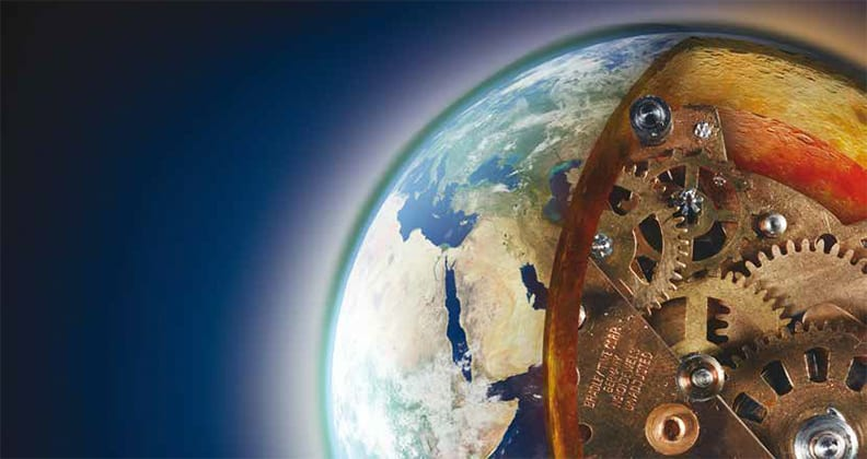 Cut away graphic image of earth with cogs in the centre