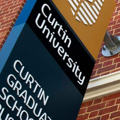 Curtin Graduate School of Business sign