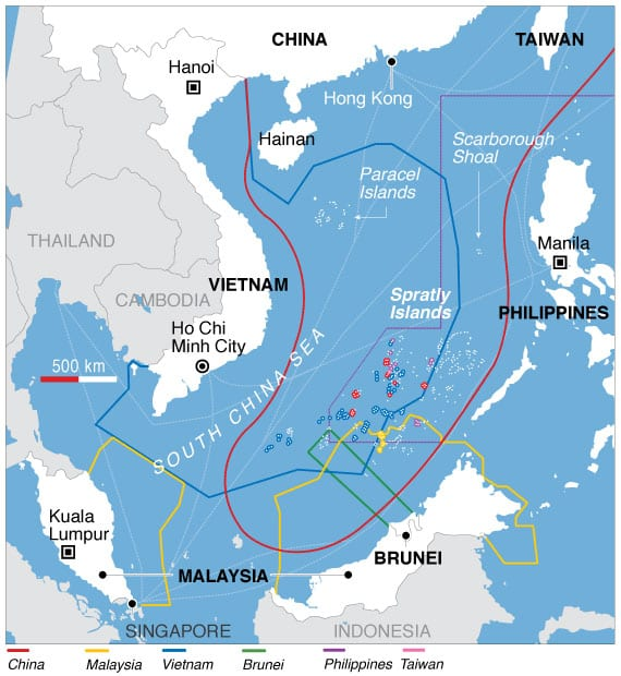 Map of territorial claims in the South China Sea