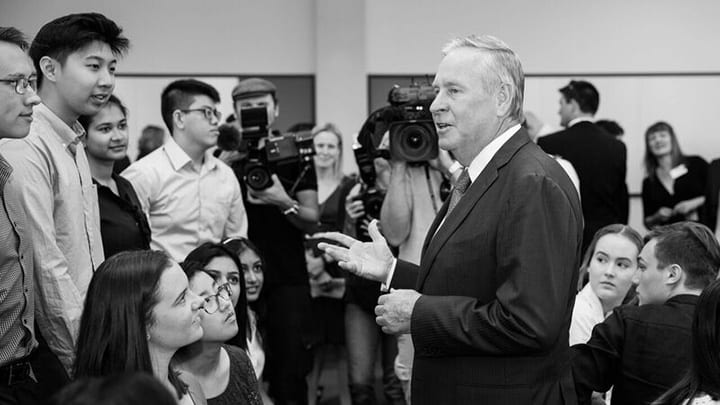 Former Western Australian Premier Colin Barnett addressing students