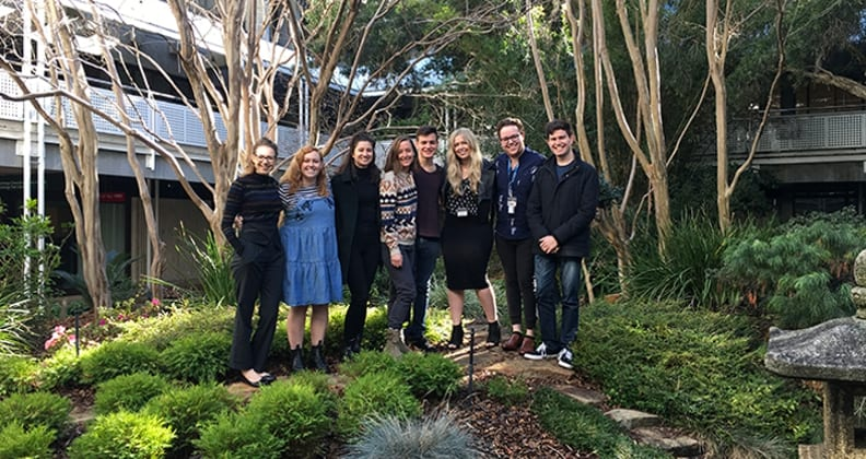 Dr Dzidic with some of her HDR and fourth year research students - L-R Kaitlyn Holyman, Jessica Harrison, Hannah Uren, Tamara Lipscome, Jack Farrugia, Dr Dzidic, Matthew Phillips, Robert Wells.