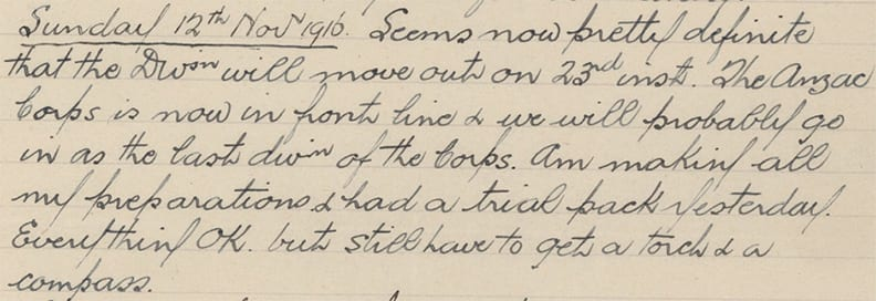 Captain James Peat's diary entry 1
