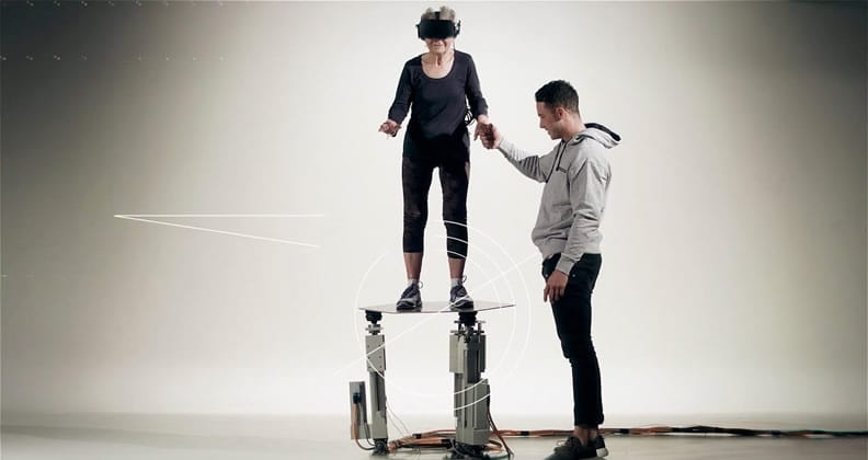 Lady on balance board wearing VR headset