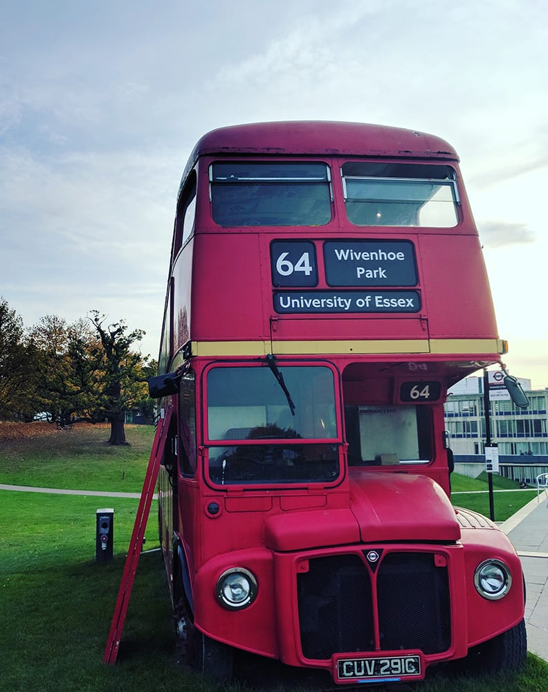 University of Essex food truck that looks like a double decker bus.