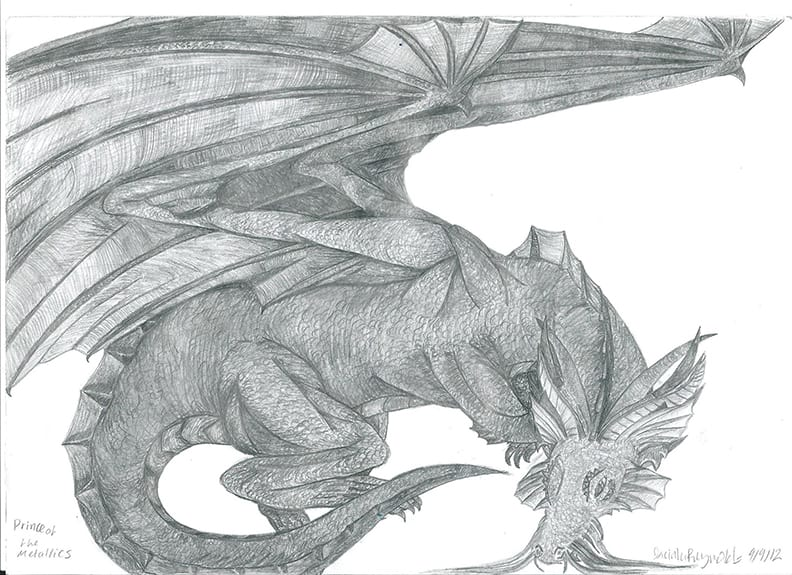 A pencil drawing of a dragon by Jacinta.