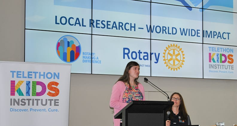 Jacinta speaking about her experience with the CSMP at the recent Perth World Autism Day Morning Tea, one of many autism events she speaks at.