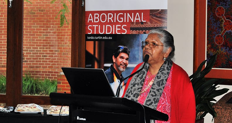 Ms Bev Councillor, Project Research Assistant, speaking at the Centre for Aboriginal Studies.