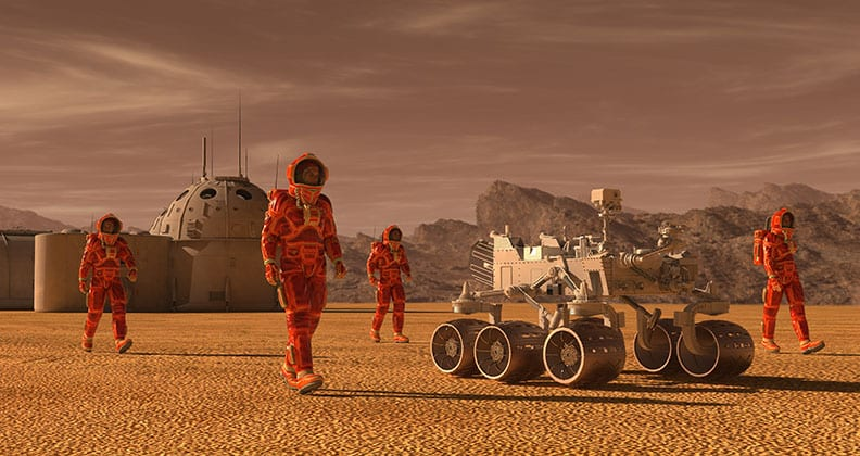 computer generated image of life on Mars