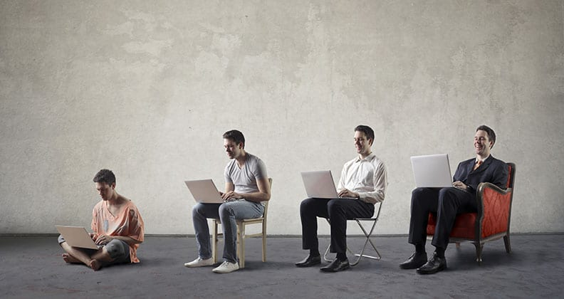 four people sitting on chairs, on the internet