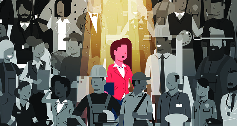 A digital illustration of a woman standing the spotlight among a group of people in shadow.