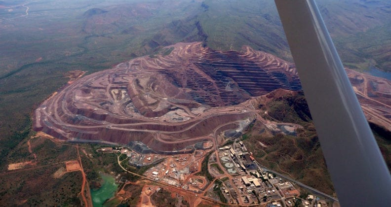 Aerial view of the Argyle Diamond Mine located in the East Kimberly Region of Western Australia.