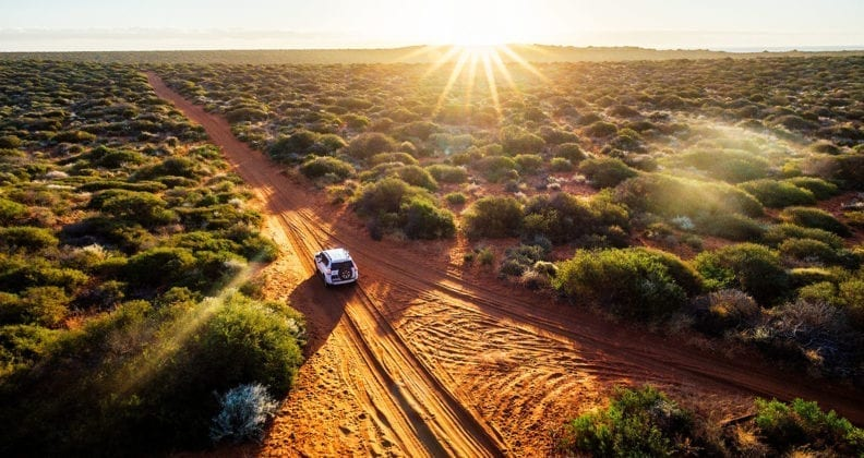 A car driving through Western Australia, red sand unpaved road and 4x4 at sunset, Francoise Peron, Shark Ba