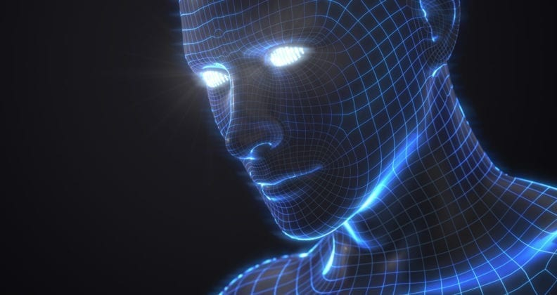 artifactial intelligence concept with virtual human avatar.3d illustration