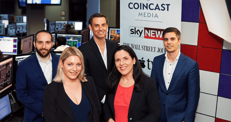 Coincast TV co-host Tessa Dempster with Multiplier Media founder Heidi Cuthbert and team.