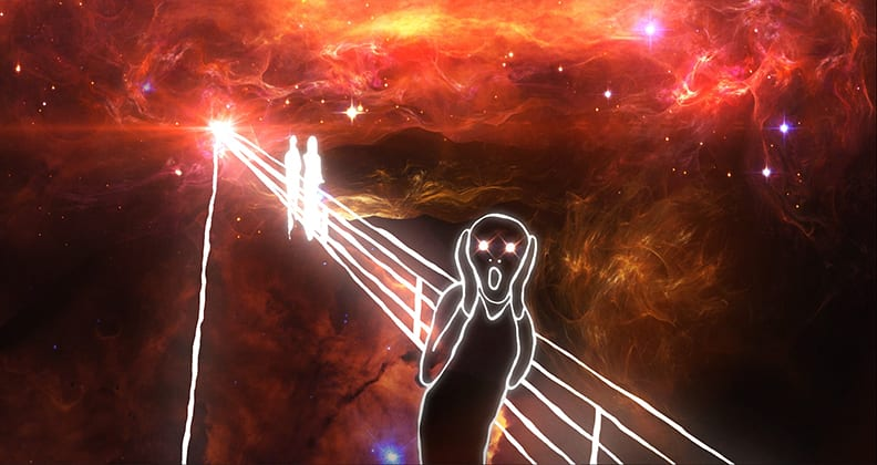 A fiery-coloured image of outer space beneath white a handdrawn lines version of Edvard Munche's The Scream