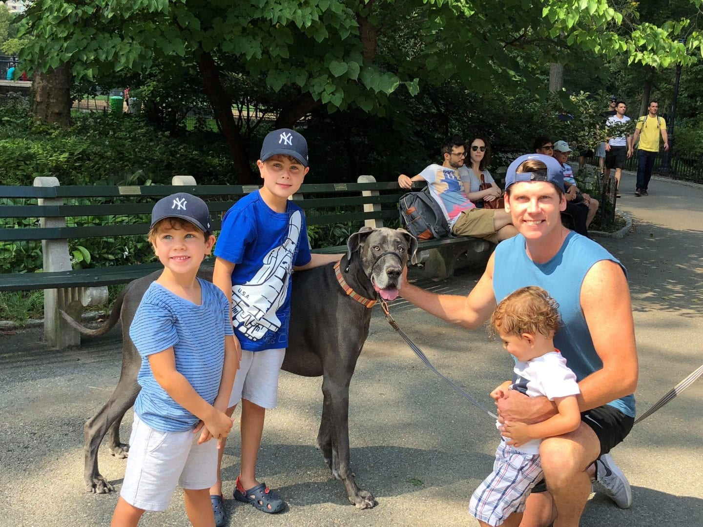Ross McNab with his three children in Central Park.