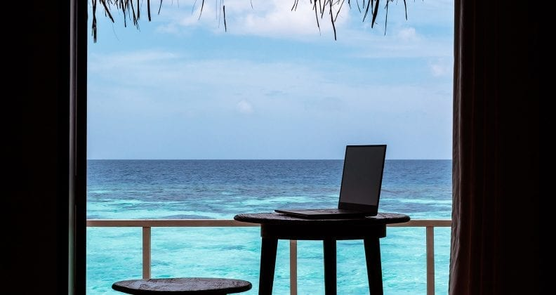 digital nomad concept. working in the Maldives