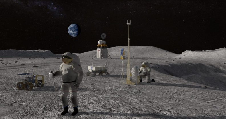 Artist's impression of astronauts on the Moon