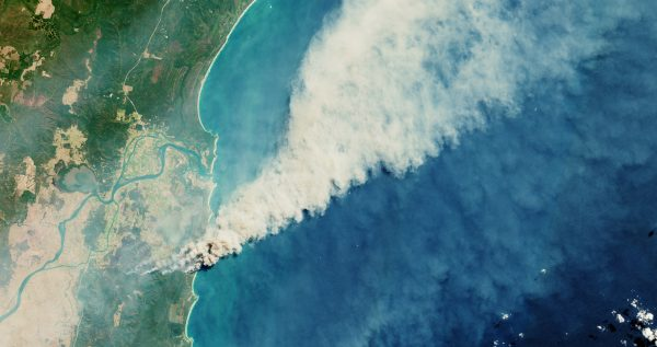 Satellite images from the European Space Agency show fires burning in the Yuraygir National Park and Shark Creek area, NSW, September 2019.