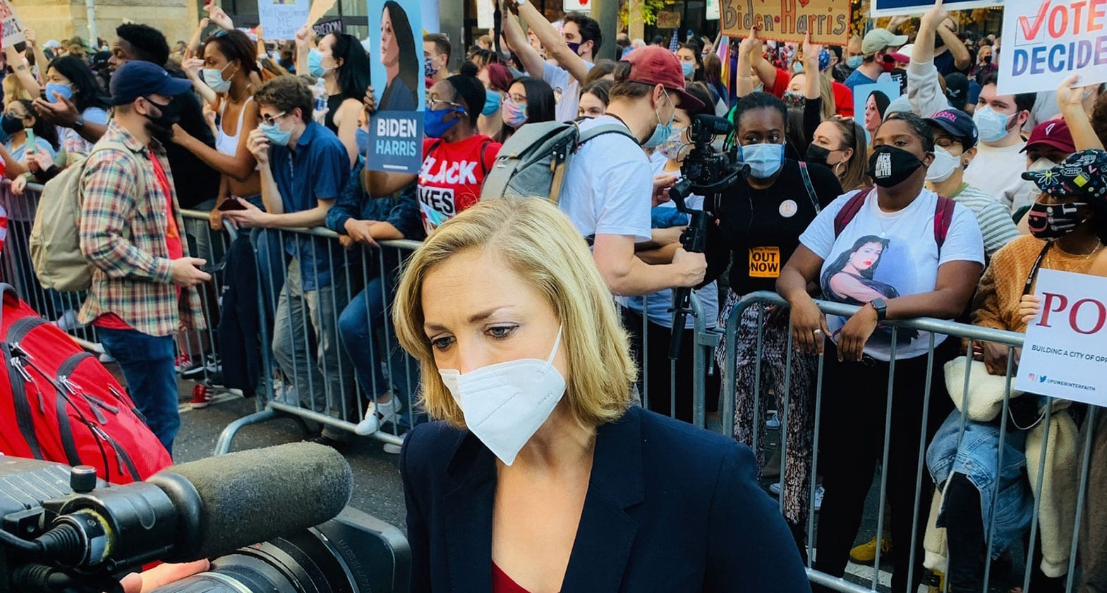 Kathryn Diss covering protests over the election result in Philadelphia, Pennsylvania.