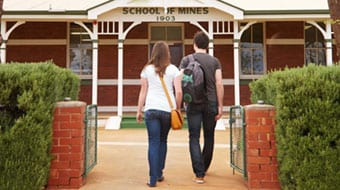 Students walking into the Western Australian School of Mines