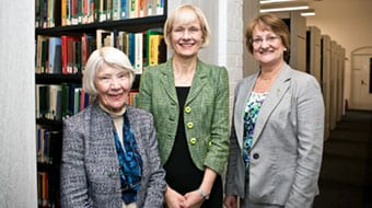 Lady Brodie-Hall and Professor Deborah Terry at the WASM library