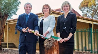 (L-R) Dr Kim Hames MLA (Minister for Training and Workforce Development), Wendy Duncan MLA (Member for Kalgoorlie and Prof Deborah Terry (Vice-Chancellor Curtin University) at the sod turning ceremony for the Agricola College redevelopment which is the student accommodation for the WA School of Mines in Kalgoorlie.
