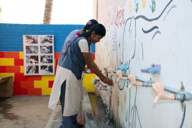 Clean water flows at the Shanthi School, India.